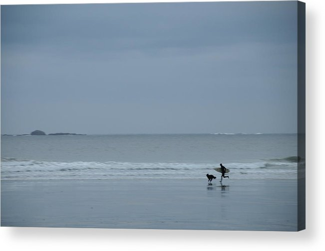 Beach Sand Sea Ocean Surfer Surfing Storm Tofino Bc Vancouver Island Acrylic Print featuring the photograph Storm Surfer by Alasdair Turner