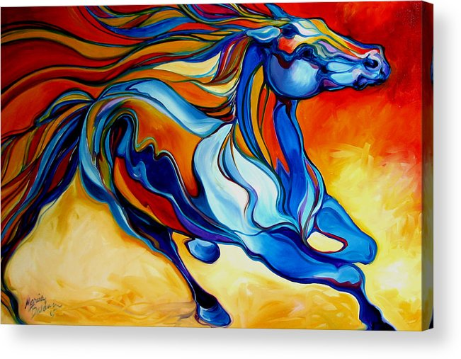 Horse Acrylic Print featuring the painting Stormy An Equine Abstract Southwest by Marcia Baldwin