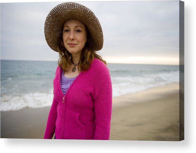 Girl Acrylic Print featuring the photograph Straw Hat At The Beach by Brad Rickerby