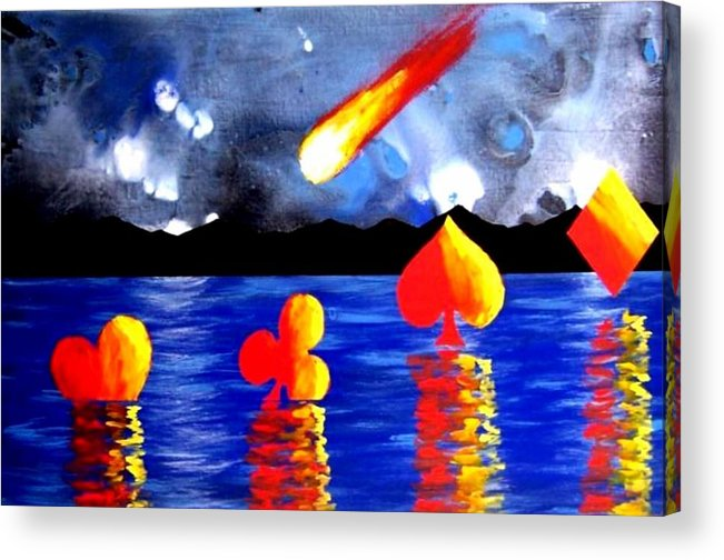 Streaking Acrylic Print featuring the painting Streaking Comet Poker Art by Teo Alfonso