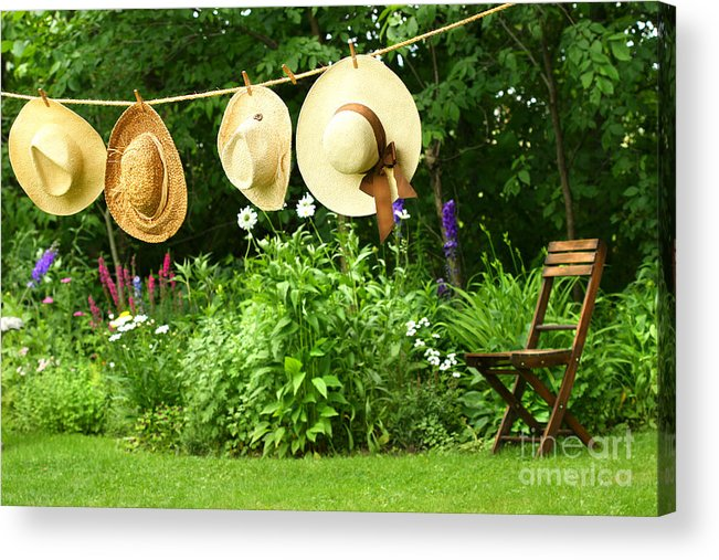 Breeze Acrylic Print featuring the digital art Summer Straw Hats Hanging On Clothesline by Sandra Cunningham
