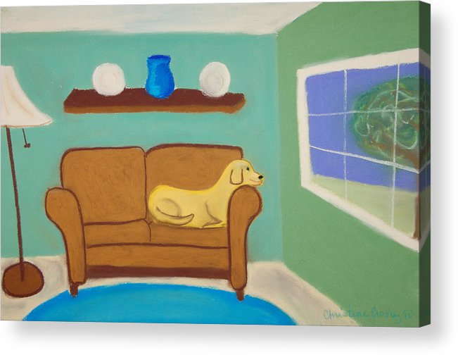 Dogs Acrylic Print featuring the pastel Summer Wishing by Christine Crosby