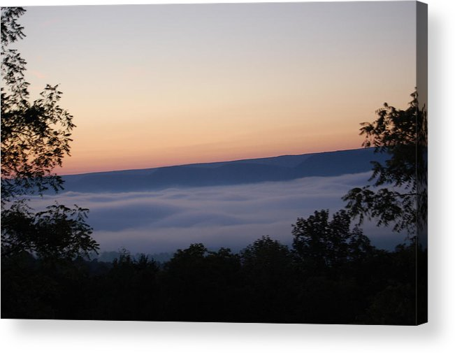 Sun Acrylic Print featuring the photograph Sun Rise With Fog In The Valley by Richard Botts