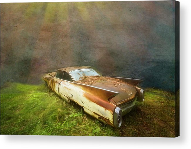 1960 Acrylic Print featuring the photograph Sunbeams On A Classic Cadillac by Debra and Dave Vanderlaan