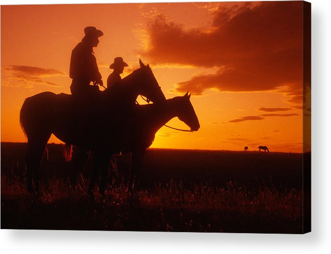 Cowboys Acrylic Print featuring the photograph Sundown In Wyoming by Carl Purcell