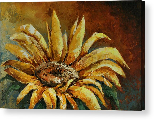 Floral Acrylic Print featuring the painting Sunflower Study by Michael Lang