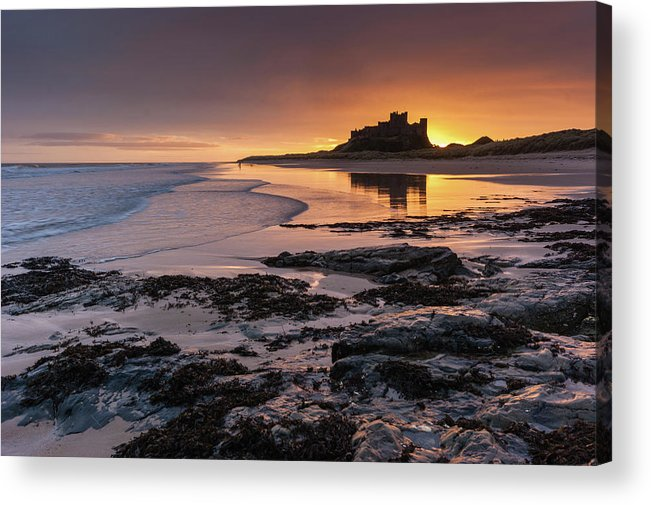 Sunrise Acrylic Print featuring the photograph Sunrise At Bamburgh Castle #4, Northumberland, North East England by Anthony Lawlor