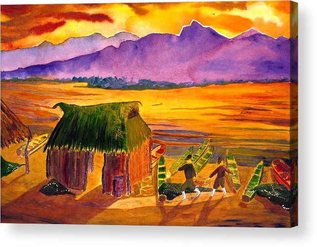 Seascape Acrylic Print featuring the painting Sunrise At La Brecha by Buster Dight