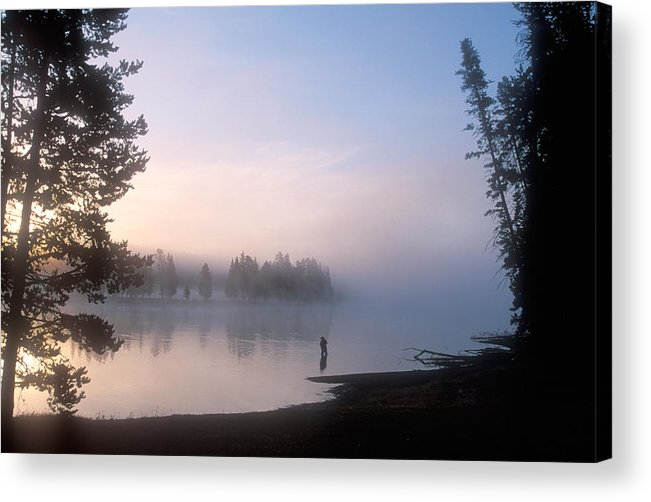 Wyoming Acrylic Print featuring the photograph Sunrise Fishing In The Yellowstone River by Michael S. Lewis