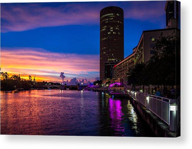 Sunset Acrylic Print featuring the photograph Sunset Along The Riverwalk by Josh Herrington