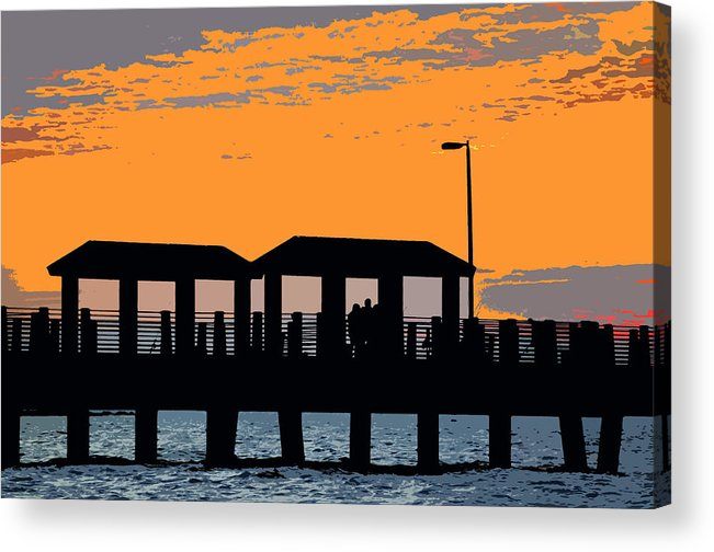 Art Acrylic Print featuring the painting Sunset At The Fishing Pier by David Lee Thompson
