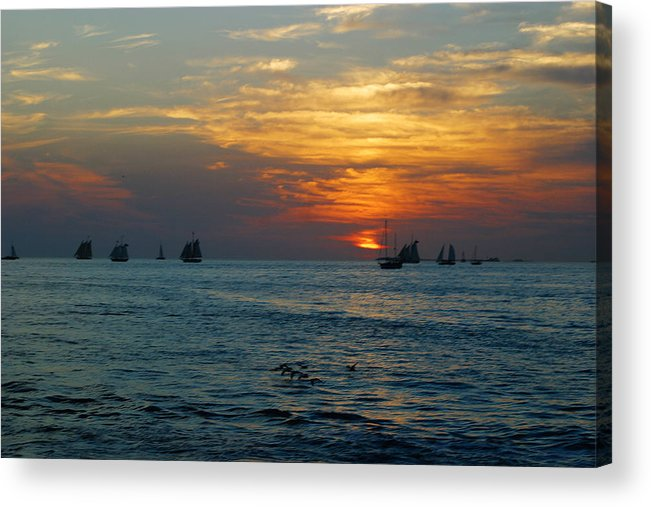 Key West Acrylic Print featuring the photograph Sunset Celebration Key West Fl by Deborah Squires