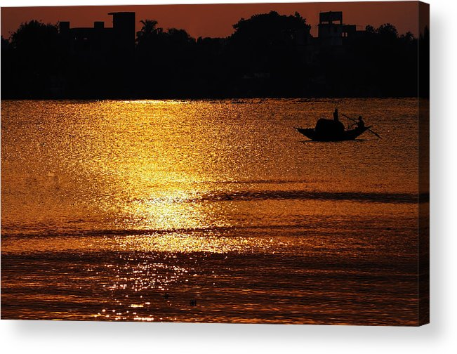 Sunset Acrylic Print featuring the photograph Sunset Country Boat Heading Towards Golden Rays by Srijan Roy Choudhury