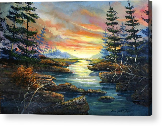 Landscape Acrylic Print featuring the painting Sunset Creek by Brooke Lyman