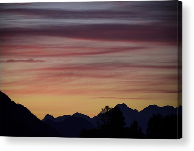 Sunset Acrylic Print featuring the photograph Sunset In The Mountains by Dave Steers