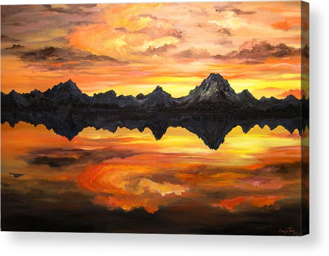 Connie Tom Acrylic Print featuring the painting Sunset Over Jackson Lake And The Grand Tetons by Connie Tom