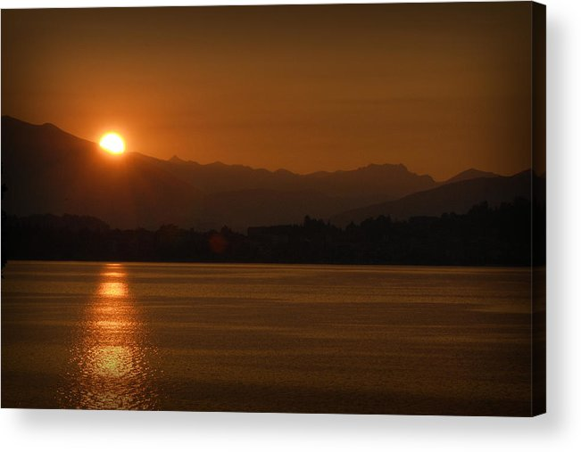 Travel Acrylic Print featuring the photograph Sunset Over Lake Como by James Zuffoletto