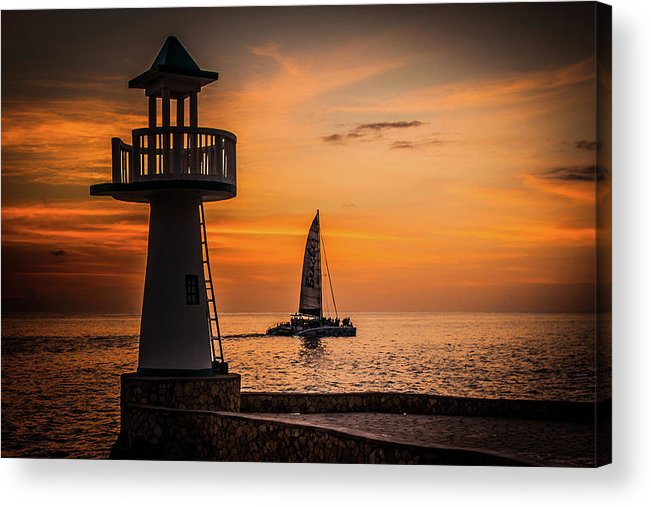 Sunset Acrylic Print featuring the photograph Sunsets And Sailboats by Jim Cole