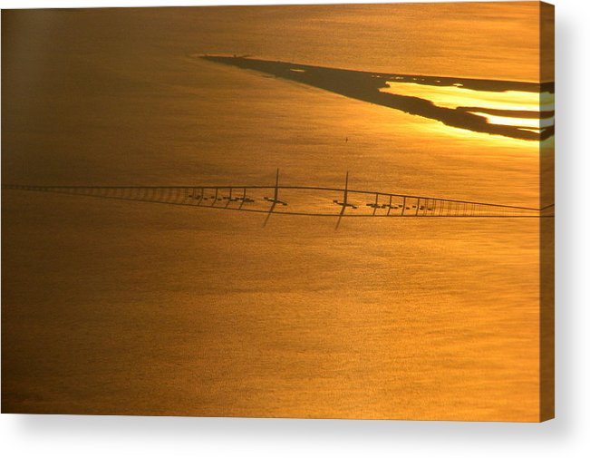 Air Acrylic Print featuring the photograph Sunshine Skyway Bridge At Sunset by T Guy Spencer