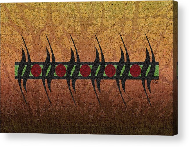 Contemporary African Abstract Gold Red Green Black Gordon Beck Art Acrylic Print featuring the painting Sunspots by Gordon Beck