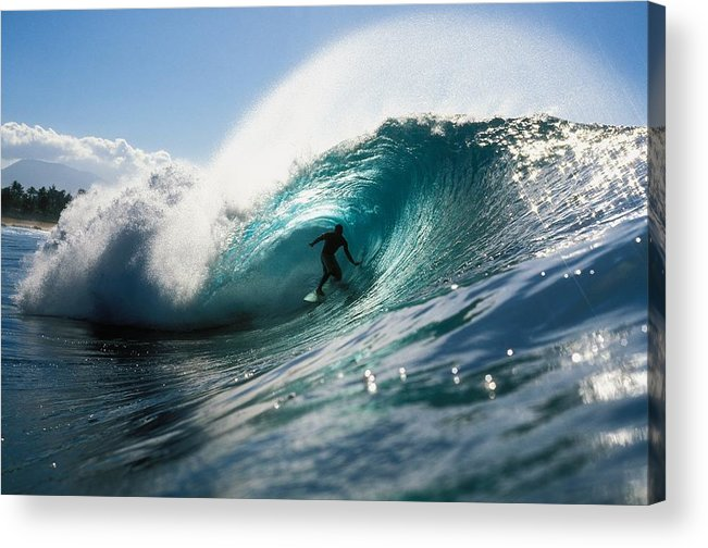 Adrenaline Acrylic Print featuring the photograph Surfer At Pipeline by Vince Cavataio - Printscapes