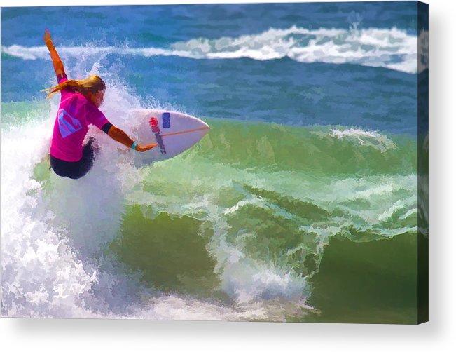 California Acrylic Print featuring the digital art Surfer Girl Taking Flight by Waterdancer