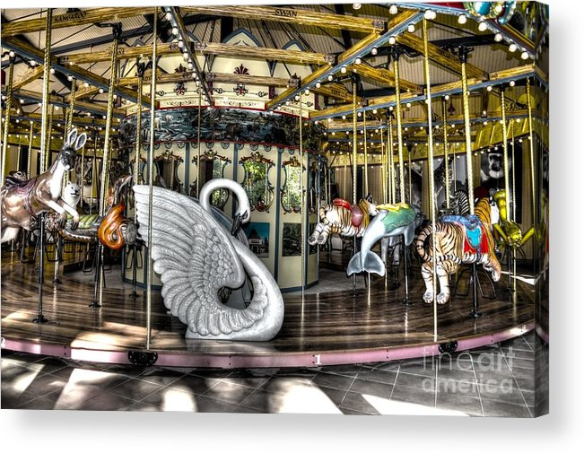 Carousel Acrylic Print featuring the photograph Swan Seat At The Carousel by Michael Garyet