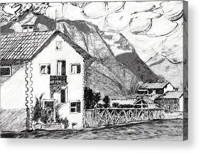 Landscape Acrylic Print featuring the drawing Swiss Mountain Trail by Monica Engeler