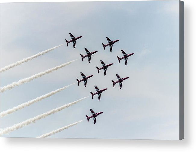 Red Arrows Acrylic Print featuring the photograph Synchronised. by Angela Aird