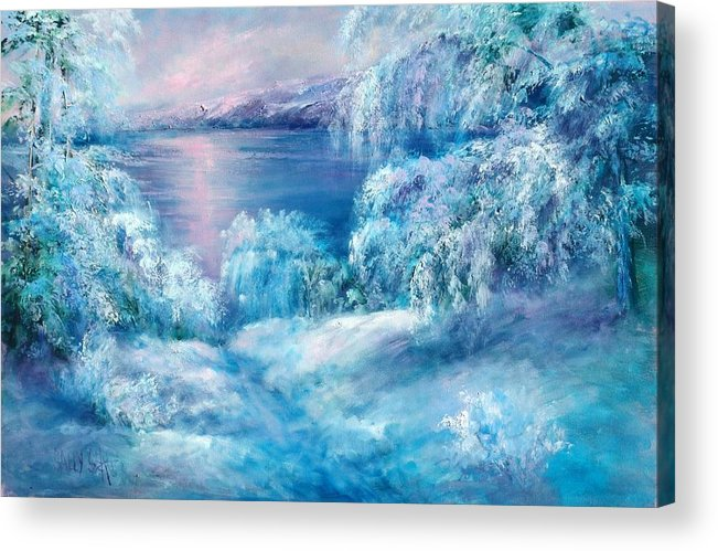 Snow Acrylic Print featuring the painting Tahoe Winter by Sally Seago