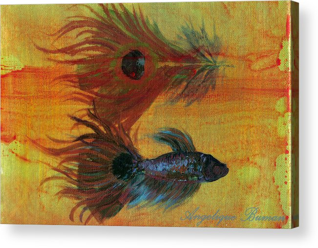 Fish Acrylic Print featuring the painting Tail Study by Angelique Bowman