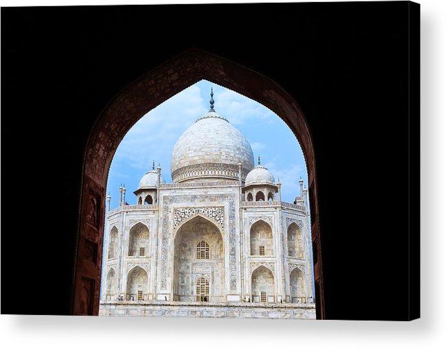 Taj Mahal Acrylic Print featuring the photograph Taj Archway by Nila Newsom