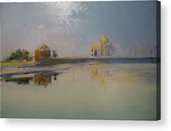 Taj Mahal Acrylic Print featuring the painting Taj Mahal Sunrise by Lizzy Forrester