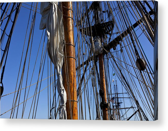 Blue Sky Acrylic Print featuring the photograph Tall Ship Rigging Lady Washington by Garry Gay