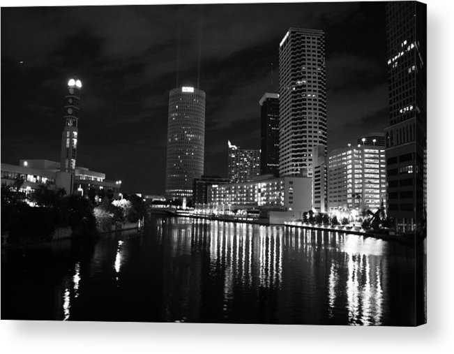 Tampa Acrylic Print featuring the photograph Tampa Skyline West Night Black And White by Larry Underwood