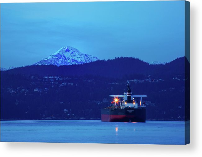 Tanker Acrylic Print featuring the photograph Tanker On English Bay by Paul Kloschinsky