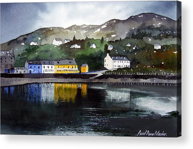 Scottish Fishing Harbour Acrylic Print featuring the painting Tarbert Reflections by Paul Dene Marlor