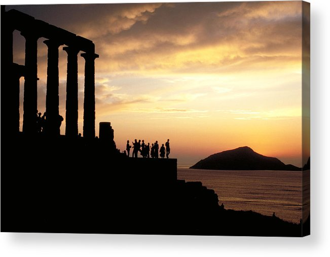 Tourists Acrylic Print featuring the photograph Temple Of Poseiden In Greece by Carl Purcell