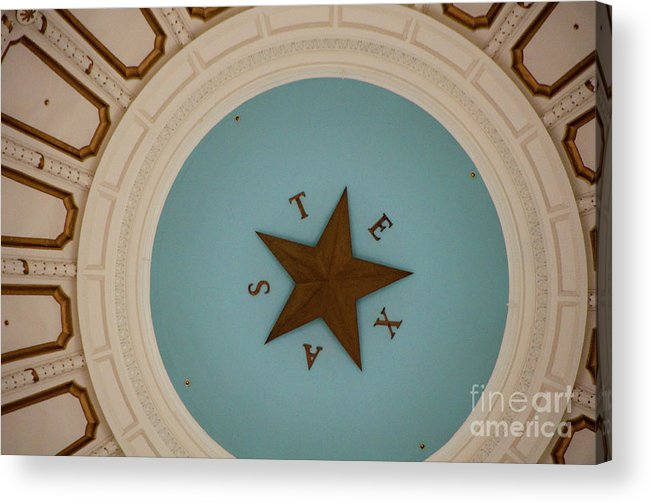 Architecture Acrylic Print featuring the photograph Texas Capitol Dome Lone Star In Austin, Texas, Usa by Austin Welcome Center
