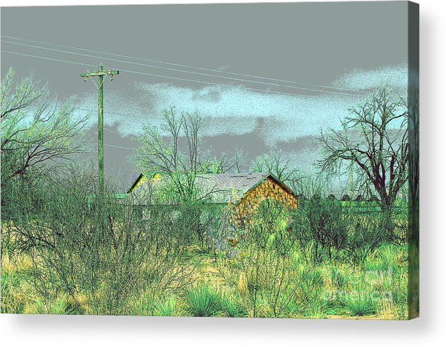 Landscape Acrylic Print featuring the photograph Texas Farm House - Digital Painting by Merton Allen