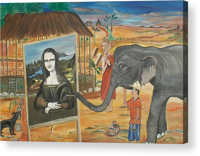 Thai Acrylic Print featuring the painting Thai Artist by Colin O neill