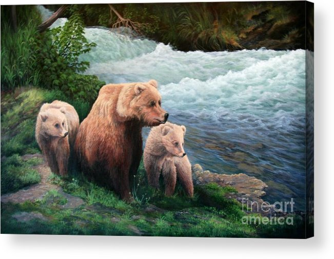 Bears Acrylic Print featuring the painting The Bears Of Katmai by Lorna Allan