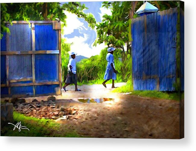 Impressionism Acrylic Print featuring the painting The Blue Gate by Bob Salo