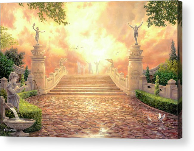 Heaven Acrylic Print featuring the painting The Bridge Of Triumph by Chuck Pinson
