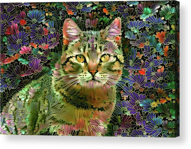 Colorful Cat Acrylic Print featuring the digital art The Cat Who Loved Flowers 1 by Peggy Collins