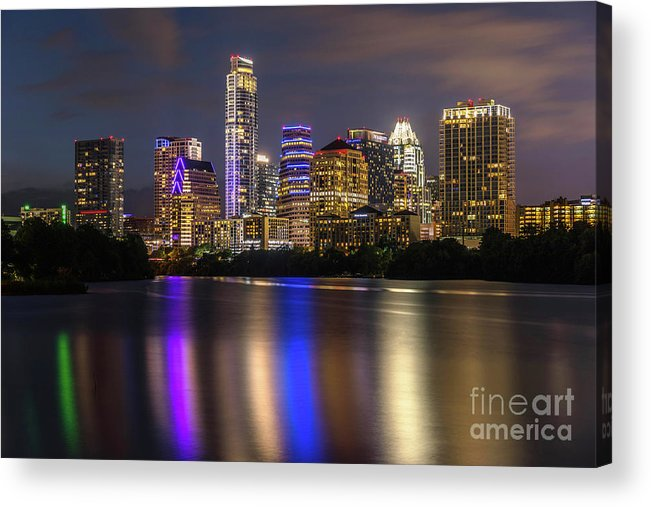 Austin Skyline Acrylic Print featuring the photograph The Colorful Neon Lights On The Austin Skyline Shine Bright by Austin Bat Tours