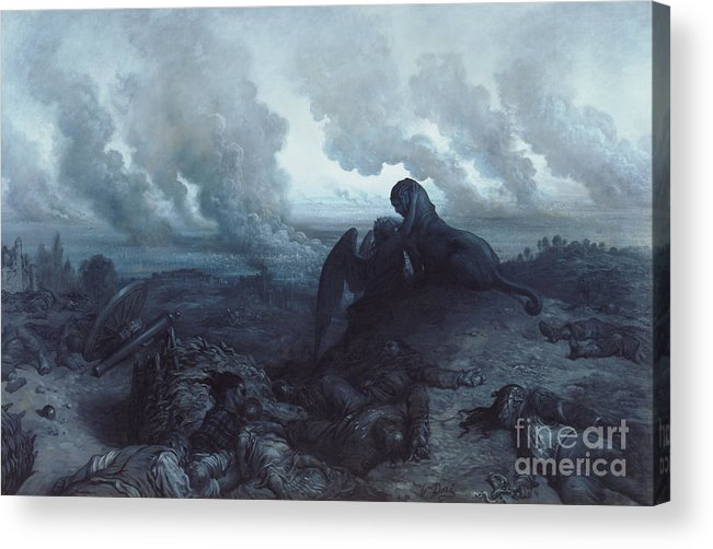 Insurrection; 1871; Burning; Smoke; Fires; Sphinx; Oedipus; Angel; Death; Devastation; Despair; Corpses; Corpse; Panorama; City; View; Destruction; Embrace; Riddle; Statue; Sculpture; Plumes; Cloud Acrylic Print featuring the painting The Enigma by Gustave Dore