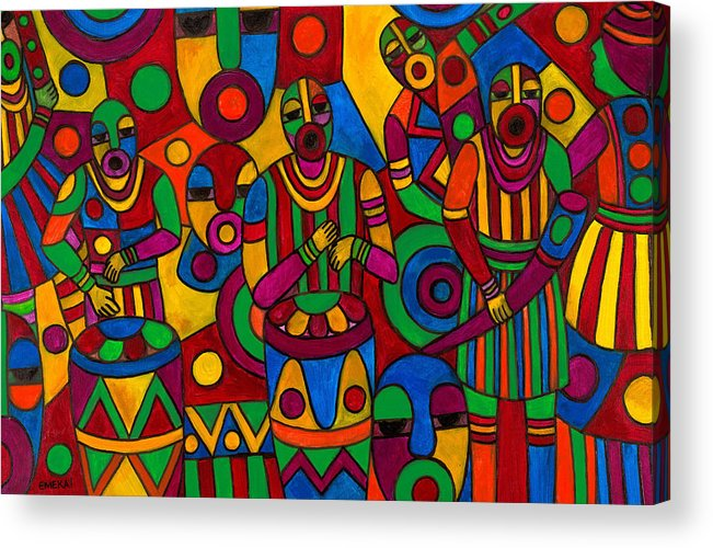 Abstract Acrylic Print featuring the painting The Festival by Emeka Okoro