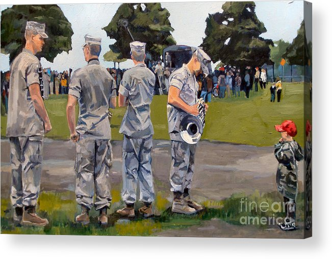 Marines Acrylic Print featuring the painting The Few The Proud by Deb Putnam