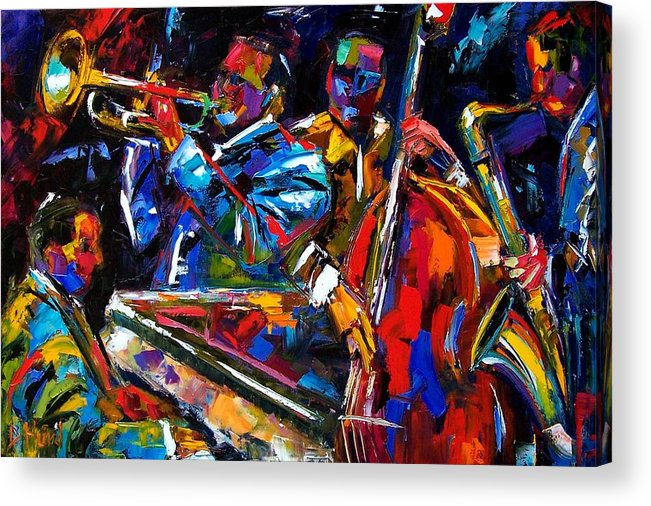 Jazz Acrylic Print featuring the painting The First Set by Debra Hurd